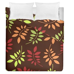Leaves Wallpaper Pattern Seamless Autumn Colors Leaf Background Duvet Cover Double Side (queen Size) by Simbadda