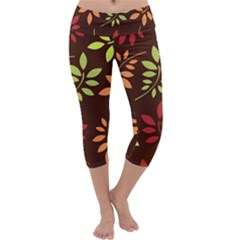 Leaves Wallpaper Pattern Seamless Autumn Colors Leaf Background Capri Yoga Leggings by Simbadda