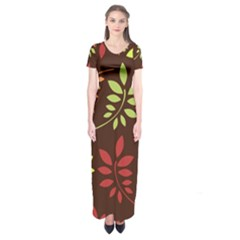 Leaves Wallpaper Pattern Seamless Autumn Colors Leaf Background Short Sleeve Maxi Dress