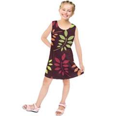 Leaves Wallpaper Pattern Seamless Autumn Colors Leaf Background Kids  Tunic Dress