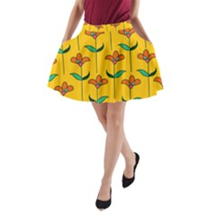 Small Flowers Pattern Floral Seamless Vector A Line Pocket Skirt