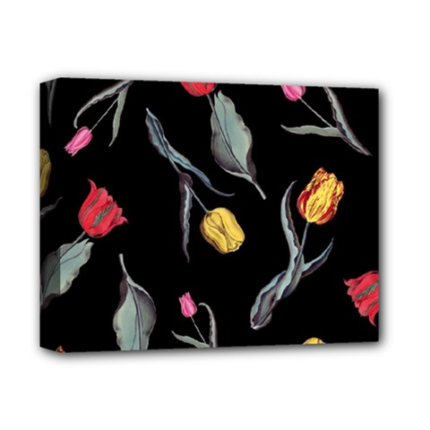 Colorful Tulip Wallpaper Pattern Background Pattern Wallpaper Deluxe Canvas 14  X 11  by Simbadda