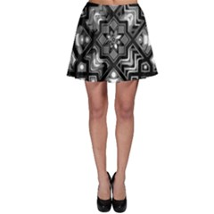 Geometric Line Art Background In Black And White Skater Skirt by Simbadda