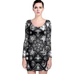 Geometric Line Art Background In Black And White Long Sleeve Bodycon Dress
