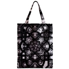 Geometric Line Art Background In Black And White Zipper Classic Tote Bag by Simbadda