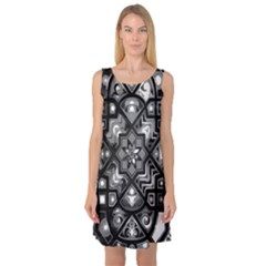 Geometric Line Art Background In Black And White Sleeveless Satin Nightdress by Simbadda