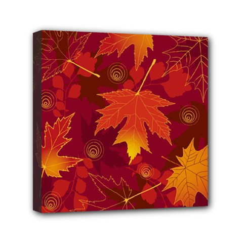 Autumn Leaves Fall Maple Mini Canvas 6  X 6  by Simbadda