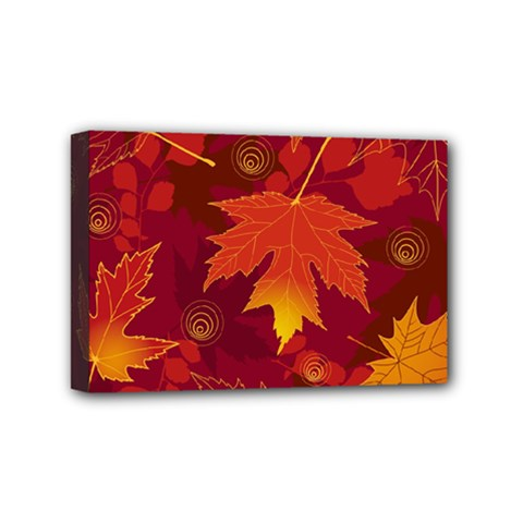 Autumn Leaves Fall Maple Mini Canvas 6  X 4  by Simbadda