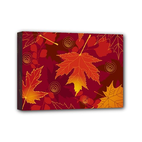 Autumn Leaves Fall Maple Mini Canvas 7  X 5  by Simbadda