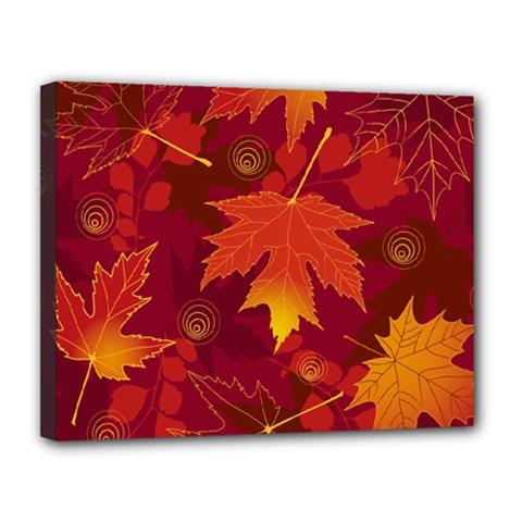 Autumn Leaves Fall Maple Canvas 14  X 11  by Simbadda