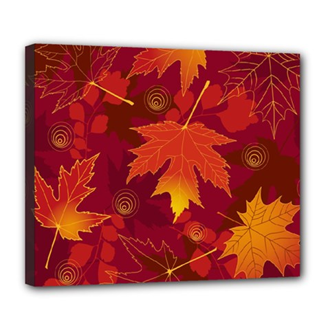 Autumn Leaves Fall Maple Deluxe Canvas 24  X 20   by Simbadda