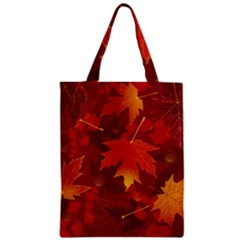 Autumn Leaves Fall Maple Zipper Classic Tote Bag by Simbadda