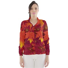 Autumn Leaves Fall Maple Wind Breaker (women) by Simbadda