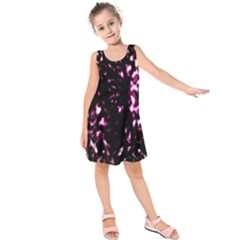 Background Structure Magenta Brown Kids  Sleeveless Dress by Simbadda