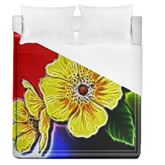 Beautiful Fractal Flower In 3d Glass Frame Duvet Cover (queen Size) by Simbadda