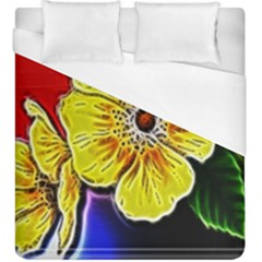 Beautiful Fractal Flower In 3d Glass Frame Duvet Cover (king Size) by Simbadda