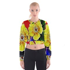 Beautiful Fractal Flower In 3d Glass Frame Women s Cropped Sweatshirt by Simbadda
