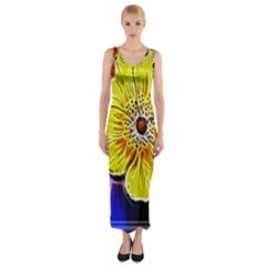Beautiful Fractal Flower In 3d Glass Frame Fitted Maxi Dress by Simbadda