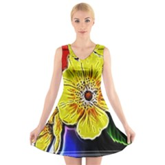 Beautiful Fractal Flower In 3d Glass Frame V Neck Sleeveless Skater Dress