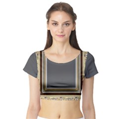 Fractal Classic Baroque Frame Short Sleeve Crop Top (tight Fit) by Simbadda