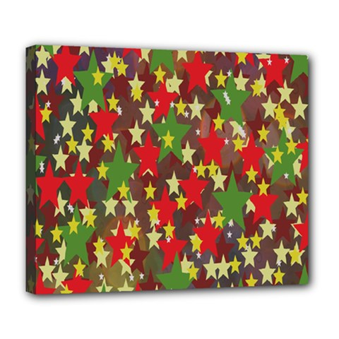 Star Abstract Multicoloured Stars Background Pattern Deluxe Canvas 24  X 20   by Simbadda