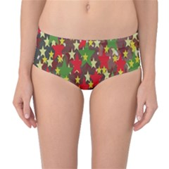 Star Abstract Multicoloured Stars Background Pattern Mid Waist Bikini Bottoms