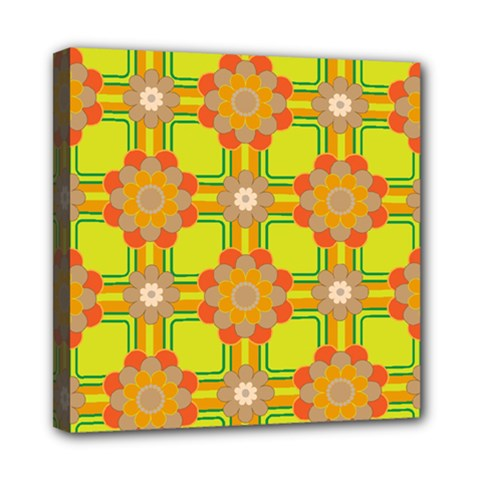 Floral Pattern Wallpaper Background Beautiful Colorful Mini Canvas 8  X 8