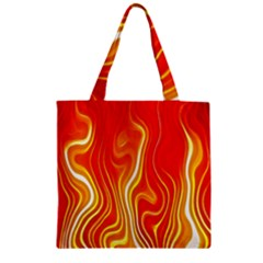 Fire Flames Abstract Background Zipper Grocery Tote Bag by Simbadda