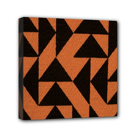 Brown Triangles Background Mini Canvas 6  X 6  by Simbadda