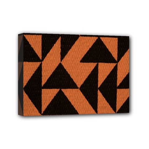 Brown Triangles Background Mini Canvas 7  X 5  by Simbadda
