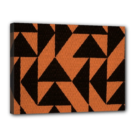 Brown Triangles Background Canvas 16  X 12  by Simbadda