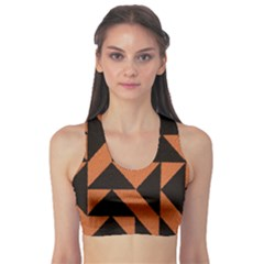 Brown Triangles Background Sports Bra by Simbadda