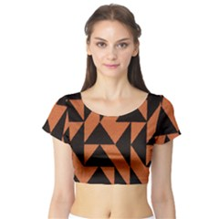 Brown Triangles Background Short Sleeve Crop Top (tight Fit)