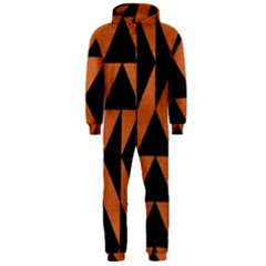 Brown Triangles Background Hooded Jumpsuit (men)