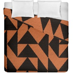 Brown Triangles Background Duvet Cover Double Side (king Size) by Simbadda