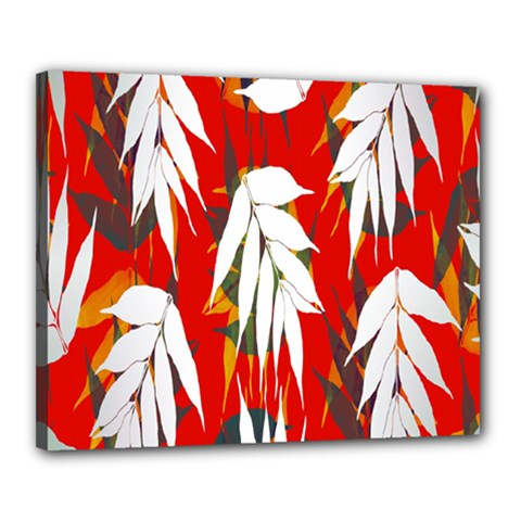 Leaves Pattern Background Pattern Canvas 20  X 16  by Simbadda