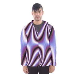 Fractal Background With Curves Created From Checkboard Hooded Wind Breaker (men) by Simbadda