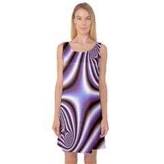 Fractal Background With Curves Created From Checkboard Sleeveless Satin Nightdress by Simbadda