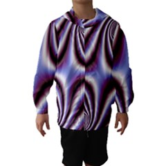 Fractal Background With Curves Created From Checkboard Hooded Wind Breaker (kids) by Simbadda