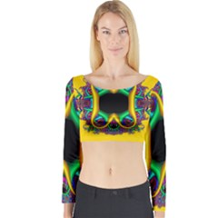 Fractal Rings In 3d Glass Frame Long Sleeve Crop Top by Simbadda