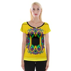 Fractal Rings In 3d Glass Frame Women s Cap Sleeve Top by Simbadda