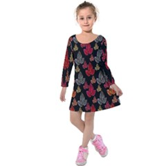 Leaves Pattern Background Kids  Long Sleeve Velvet Dress by Simbadda