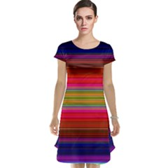 Fiestal Stripe Bright Colorful Neon Stripes Background Cap Sleeve Nightdress by Simbadda