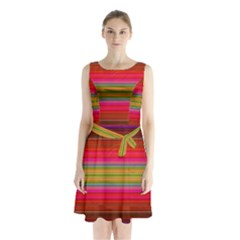 Fiestal Stripe Bright Colorful Neon Stripes Background Sleeveless Chiffon Waist Tie Dress by Simbadda