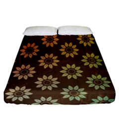 Grunge Brown Flower Background Pattern Fitted Sheet (king Size)