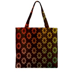 Grunge Brown Flower Background Pattern Zipper Grocery Tote Bag by Simbadda