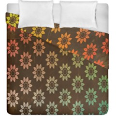Grunge Brown Flower Background Pattern Duvet Cover Double Side (king Size) by Simbadda