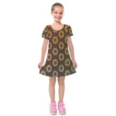 Grunge Brown Flower Background Pattern Kids  Short Sleeve Velvet Dress