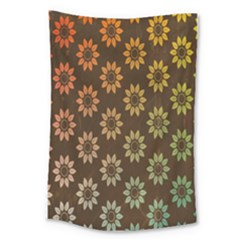 Grunge Brown Flower Background Pattern Large Tapestry by Simbadda