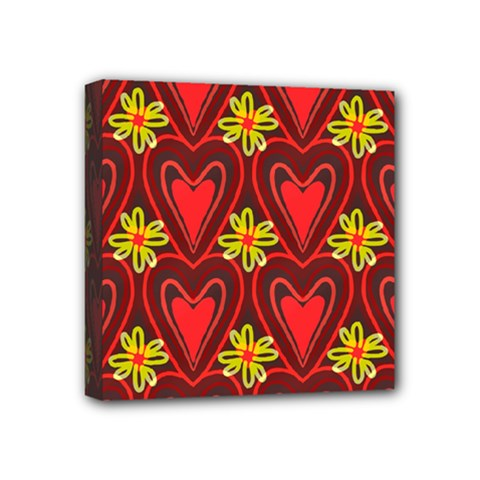 Digitally Created Seamless Love Heart Pattern Tile Mini Canvas 4  X 4  by Simbadda